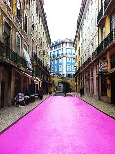 The Pink Street, Lisboa, Portugal - by Cais do Sodré Portugal Travel, Spain And Portugal, Portugal Trip, Places To Travel, Places To See, Places Around The World, Around The Worlds, Umbrella Street, Pink Street