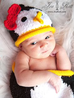 Penguin Hat and Sleeping Bag Set for Newborn READY to by IraRott