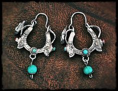 Gypsy Butterfly Hoop Earrings with Turquoise Dangles