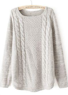 Long Sleeve Round Neck Beige Sweater