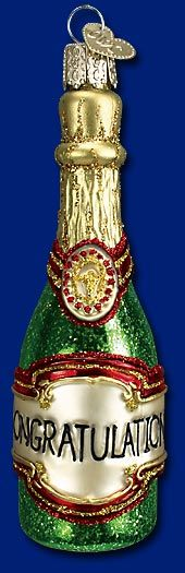 Congratulations! Champagne Bottle Old World Glass Ornament