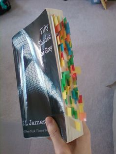 """my mom's copy of 50 shades of grey, I don't want to know what the bookmarks are for"""