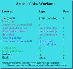 Arms and abs workout...this was great for arms, subpar for abs, but you could easily add more to abs if you want