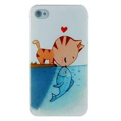 Beijo dos peixes Caso Cat Dull polonês Voltar Embossment para iPhone 4/4S – BRL R$ 7,73