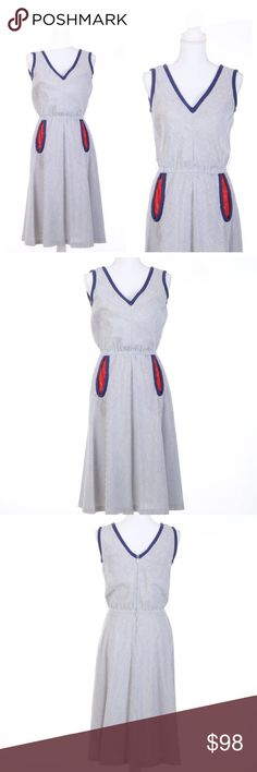 """vintage 1950s day dress The perfect dress for a hot summer day. Vintage 1950s blue and white striped cotton day dress by Pedestal Originals. Front pockets are lined in red paisley print.   •True vintage  •Unlined  •Metal zipper in back  •Excellent condition: small spots where blue has bleed into white.   MEASUREMENTS  •Size unmarked  •Bust: 34"""" •Waist: 24-28"""" (elastic waistband) •Length: 37""""  🌈 All orders ship with 1-2 business days. No trades or holds. All photos are original and of the…"""