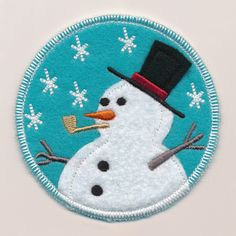 Winter Coaster - Snowman with Hat (In-the-Hoop) design (X13658) from www.Emblibrary.com