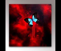 Butterfly Canvas Art   Red Art   Abstract Art   Canvas Art Print   Butterfly Decor   Gothic Decor   Butterfly Art   Insect Art   Modern Art