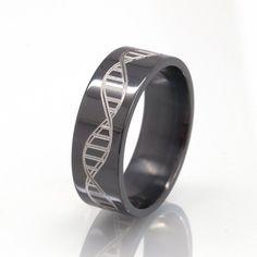 DNA Strand Ring - Black Rings, Black Wedding Bands, Custom Rings:  BZ-8F-DNA