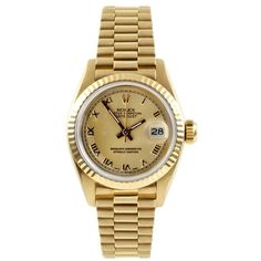 Pre-owned Rolex Presidential Datejust 18k Yellow Gold & Roman... ($6,795) ❤ liked on Polyvore featuring jewelry, watches, accessories, gold wrist watch, gold jewelry, 18k gold bracelet, bracelet watches and gold bracelet watches