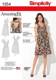 Sew a comfy, stylish summer dress with Simplicity pattern 1354. Go casual with the back cutout, or sew a full back version. Available in Misses and Plus Size.