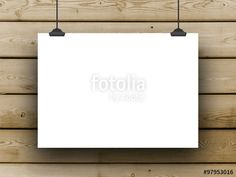 Single hanged horizontal paper sheet frame with clips on brown wooden boards background