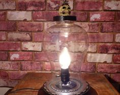 Your Shop - Items The Bell Jar, Mason Jar Lamp, Lamps, Table Lamp, Skull, Cool Stuff, Shopping, Lightbulbs, Lamp Table