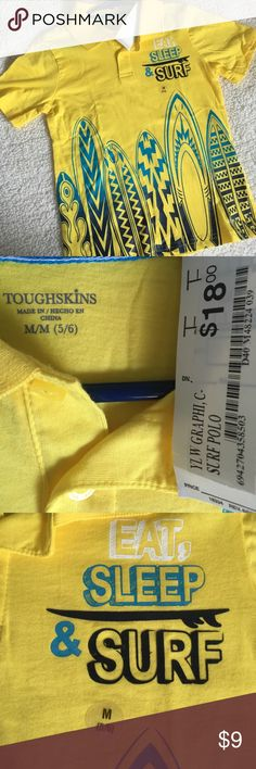 Yellow Surf Surfboard 🏄 Collared Shirt. New! New with tags! toughskins Shirts & Tops Polos