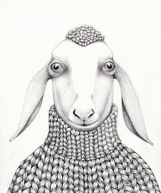 ARTFINDER: MOUTON EN PULL by EVA FIALKA - Original pencil drawing on heavy paper 300gr.