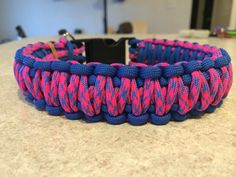 Blue and pink paracord dog collar king cobra