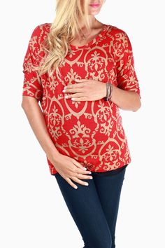Red Beige Printed Short Sleeve Maternity Top