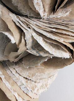 "Ann Goddard, ""ecotype"" (detail), Lokta paper, Mitsumata paper, printed paper, paper yarn, Wax, gesso. (50x84x26cm)."