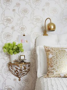 lacking floor space in the bedroom? This clip-on lamp and mounted ledge free up room AND look good #hgtvmagazine http://www.hgtv.com/decorating-basics/decorating-ideas-for-small-spaces/pictures/page-6.html?soc=pinterest#