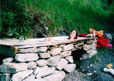 Outdoor Low Tech Permaculture Bath : DIY Eco Bath...when you let out the water (using only natural soaps) you can now water your garden...