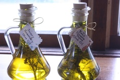 Herb infused oil. Homemade wedding guest gift idea - for our love of cooking.