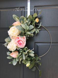 The Whimsical Door Boho hoop wreath bohemian floral wreath wedding wreath bridal wreath baby shower wreath rose wreath Farmhouse wreath floral hoop wreath Modern summer wreath lambs ear wreath Our bohemian hoop wreath has a mix of flowers and gorgeous gre Floral Hoops, Wedding Wreaths, Wedding Flowers, Wedding Decor, Wedding Ideas, Deco Floral, Summer Wreath, Wreath Fall, Spring Wreaths