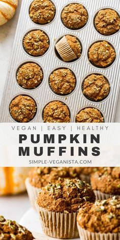 Vegan Pumpkin Muffins Recipe - Full of pumpkin flavor and fall spices these vegan muffins are made in one bowl with simple ingredients from your pantry and bakes up perfectly moist and flavorful! Oil-free easy and healthy! Low Fat Vegan Recipes, Healthy Muffin Recipes, Fun Baking Recipes, Healthy Vegan Snacks, Delicious Vegan Recipes, Vegan Sweets, Whole Food Recipes, Sweet Recipes, Vegan Meals