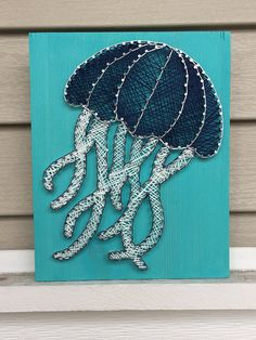 Jellyfish String Art Nursery Decor Home Decor Baby - Jellyfish String Art Sign Measures X Board Color Is Aqua And String Color Is Navy And White Each Of These Signs Are Hand Made And Made To Order And May Vary Slightly From What Is Pict String Wall Art, Nail String Art, String Crafts, Diy Wall Art, Diy Art, Wall Decor, Resin Crafts, String Art Templates, String Art Patterns