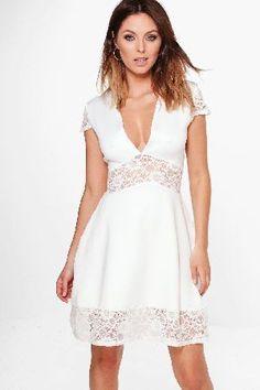#boohoo Lace Insert Plunge Neck Skater Dress - ivory #Layla Lace Insert Plunge Neck Skater Dress - ivory