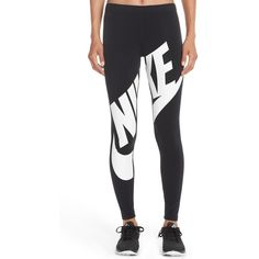 Women's Nike 'Leg-A-See' Exploded Logo Leggings (190 RON) ❤ liked on Polyvore featuring pants, leggings, bottoms, nike, white trousers, nike leggings, legging pants, white pants and white legging pants