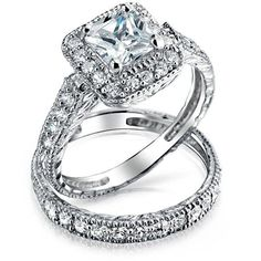 Bling Jewelry Princess Royal Rings (51 NZD) ❤ liked on Polyvore featuring jewelry, rings, clear, wedding-ring-sets, wedding band rings, engagement rings, wedding band engagement ring, clear jewelry and wedding rings