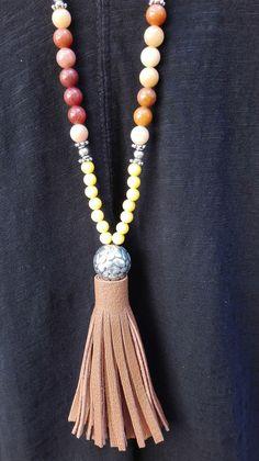 Sautoir perles Jaune et Orange Pompon Camel