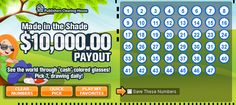 What's cooler than winning $10,000.00 cash? Play PCHlotto TODAY and check out the Made in the Shade $10,000.00 Payout card! #PCH #toocool....Winning #Double for being a #SuperFan