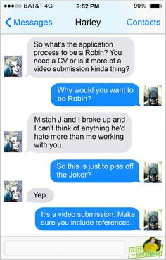 Texts From Superheroes: Photo Superhero Texts, Avengers Texts, Texts From Superheroes, Im Batman, Batman Humor, Funny Batman, Dc Memes, Batman Family, Joker And Harley