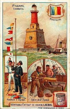I like how these ads show different ports-of-call. I think they're trying to say that their product was being used worldwide, or maybe there were different ads for different countries. Vintage Travel Posters, Vintage Postcards, History Of Romania, Lighthouse Pictures, Ship Paintings, Boat Art, Art Deco Posters, Illustrations And Posters, Vintage Advertisements