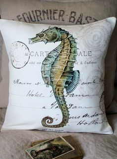 Cotton and Burlap Pillow Cover Beach Decor Pillow by JolieMarche #seahorse #throw #pillow