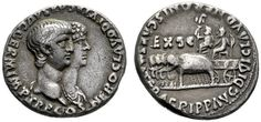 Nero augustus, 54 – 68  Denarius 55, AR 3.55 g. Jugate busts r. of Nero, bareheaded and Agrippina II, draped. Rev. Quadriga of elephants l., bearing two chairs upon which sit the Divii Claudius and Augustus. C 4. RIC 7.
