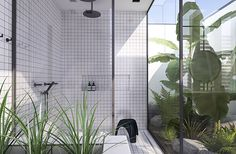 Tropical jungle atrium and double shower | Urban contemporary bathroom. Design by eleni Psyllaki