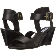 Steve Madden Nevrstp (Black) Women's Wedge Shoes ($48) ❤ liked on Polyvore featuring shoes, sandals, black wedge sandals, wedge heel sandals, mid heel wedge sandals, black wedge heel sandals and steve-madden shoes