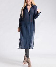 Take a look at this Navy Side-Split Button-Up Tunic today!