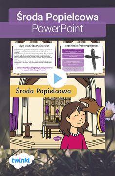 Ta krótka prezentacja o Środzie Popielcowej wyjaśni dzieciom, kiedy Środa Popielcowa ma miejsce, co się dzieje w trakcie mszy, oraz co symbolizuje popiół, który księża sypią na głowy wiernych. Kliknij, by pobrać! #srodapopielcowa #popielec #powerpoint #prezentacja #wielkanoc #wiosna #luty #post #wielkipost #materialy #twinkl #twinklpolska #szkola #nauczanie #nauczyciel #nauczyciele #dydaktyczne #edukacja Teacher Inspiration, Comic Books, Comics, Cover, Free, Cartoons, Cartoons, Comic