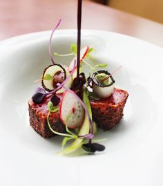 Spiced tuna, pickles and chocolate raspberry tea #plating #presentation