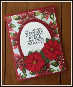 Stampin Up October 2015 Blissful Bouquet Paper Pumpkin alternate card. Christmas card idea. Season of Cheer designer paper
