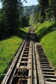 The longest stairway is listed by Guinness Book of Records as the service stairway for the Niesenbahn funicular railway near Spiez, Switzerland, with 11,674 steps and a height of 1669 m (5476 ft).