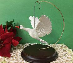 Vintage Hand Carved Wood Swan Christmas Ornament #Christmas