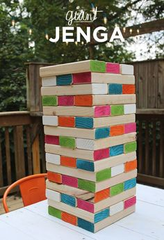 DIY giant wooden Jenga (& other party hacks) Outdoor Party Games, Outdoor Games For Kids, Outdoor Fun, Outdoor Jenga, Yard Jenga, Jenga Diy, Outdoor Parties, Outdoor Entertaining, Outdoor Toys