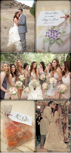 love the middle pic with the bridesmaids...dresses & flowers with branches= rustic and perfect