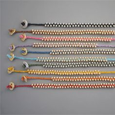 Make a braided bead bracelet from waxen linen chord and pretty beads!