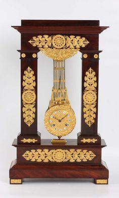 A French late-Empire mahogany and ormolu oscillating mantel clock, circa 1820 Antique Clocks For Sale, Old Clocks, Tabletop Clocks, Mantel Clocks, Tick Tock Clock, Empire Furniture, French Clock, Unusual Clocks, Art Nouveau