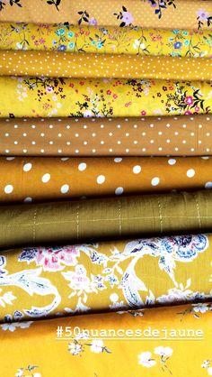 Tissus d'automne pour robes ou blouses dans plusieurs nuances de jaunes... Sur henryethenriette.com Henry Et Henriette, Blouse, Sunglasses Case, Fabrics, Couture, Wallet, Diy, Shades, Page Layout