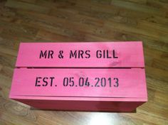 Personalised wedding card box instead of a 'postbox' www.notonthehighstreet.com
